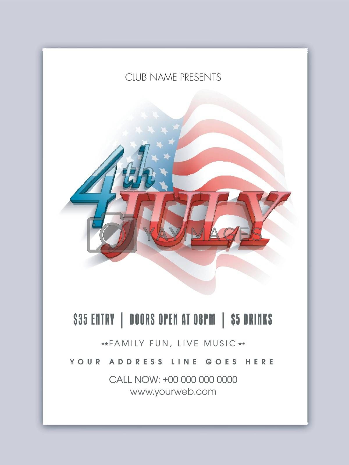 3D text 4th of July on Waving American Flag background. Template, Banner, Flyer for Independence Day celebration.