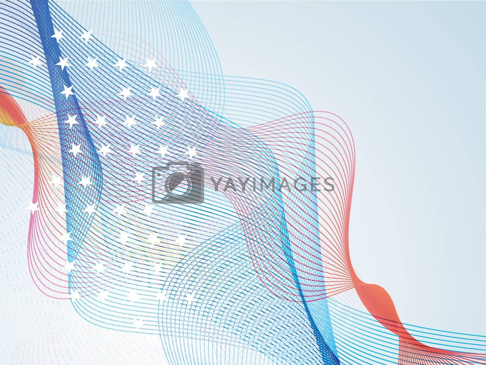 Abstract waves in American Flag colors, Creative background for 4th of July, Independence Day celebration.