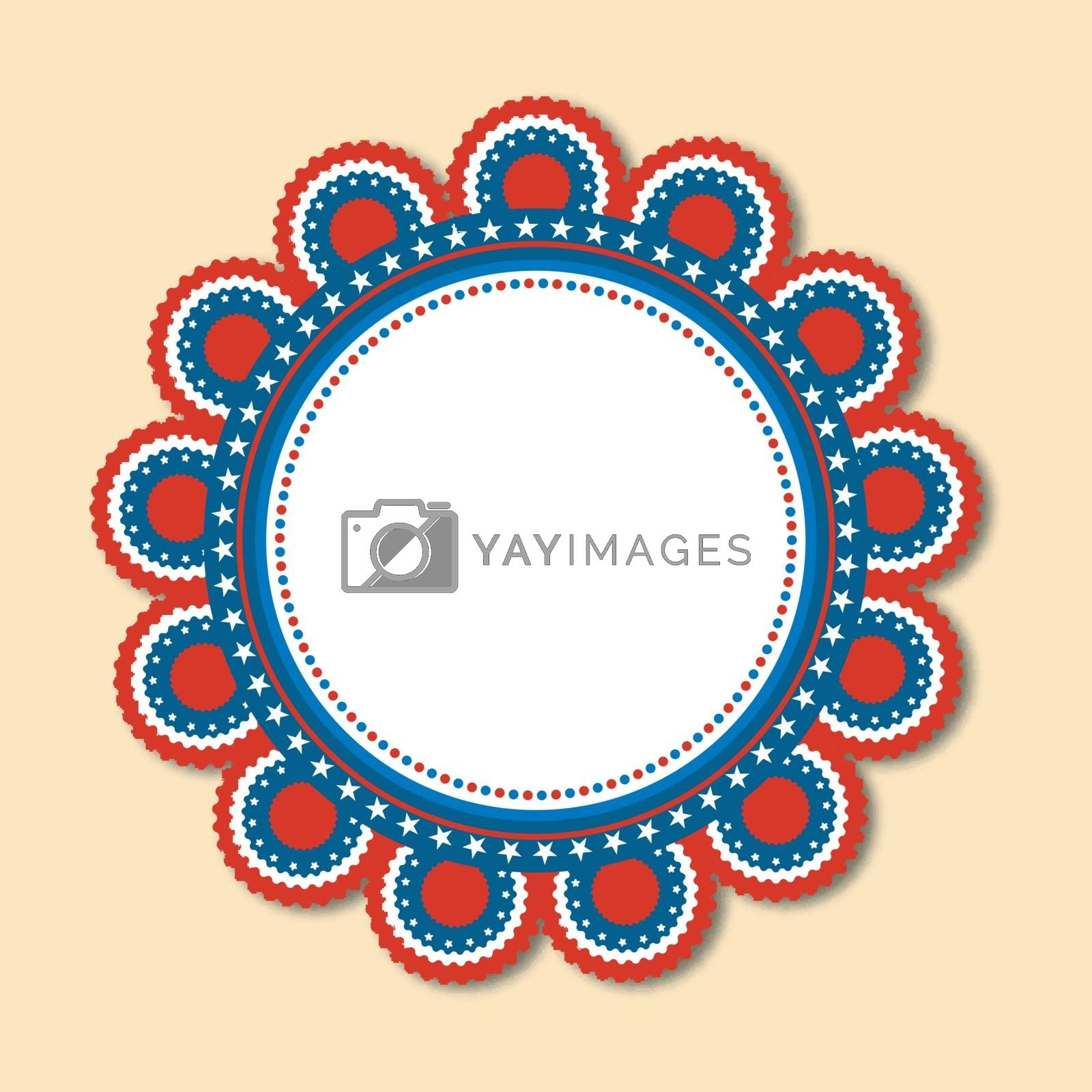 Creative badge design in American Flag colors for 4th of July, Independence Day celebration.