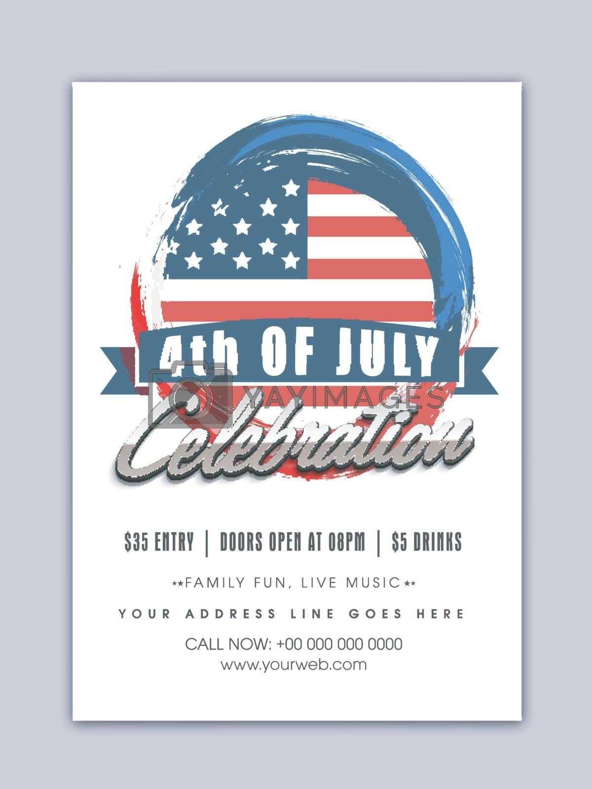 Template, Banner or Flyer design for 4th of July, American Independence Day celebration.