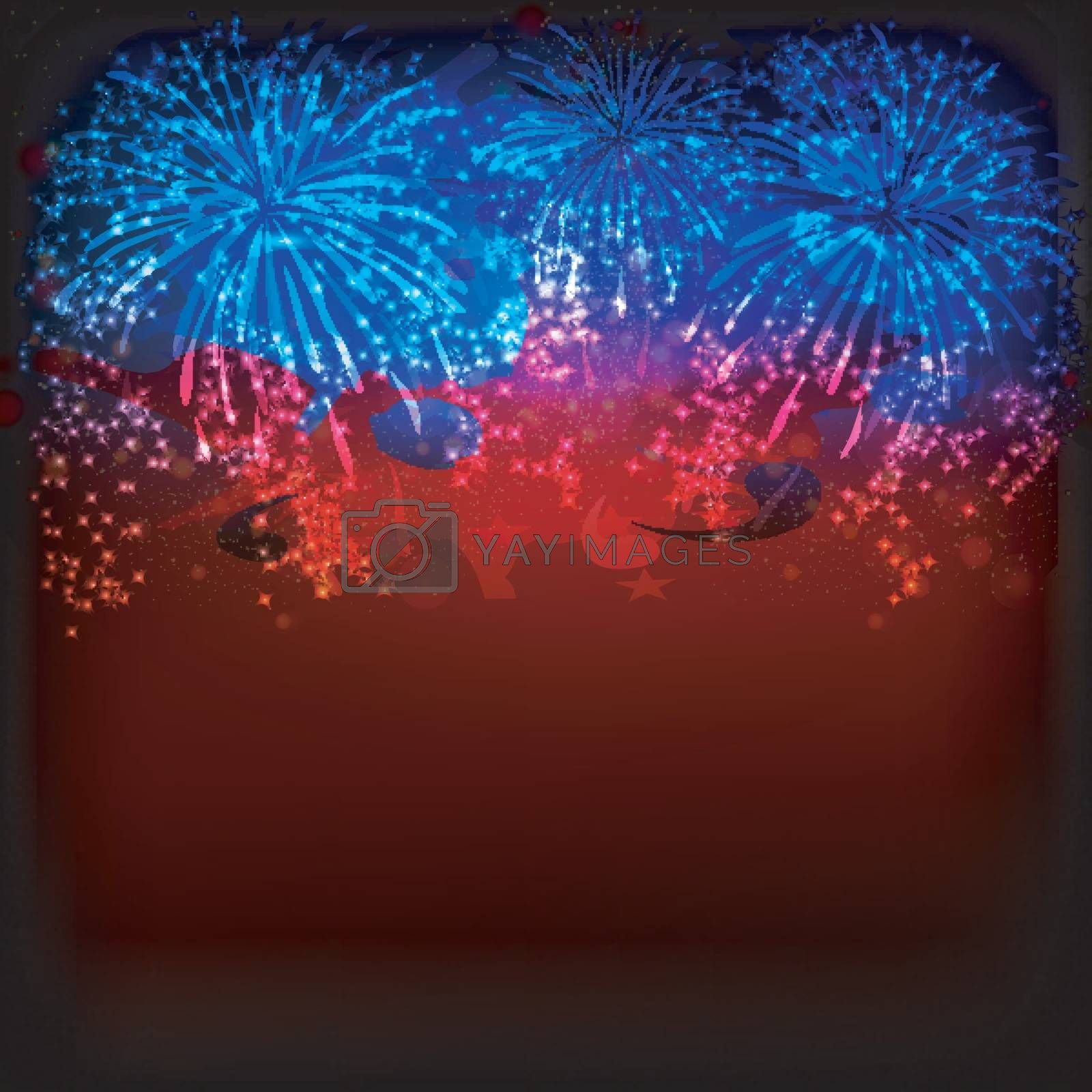 Creative sparkling fireworks explosion background in blue and red colors.