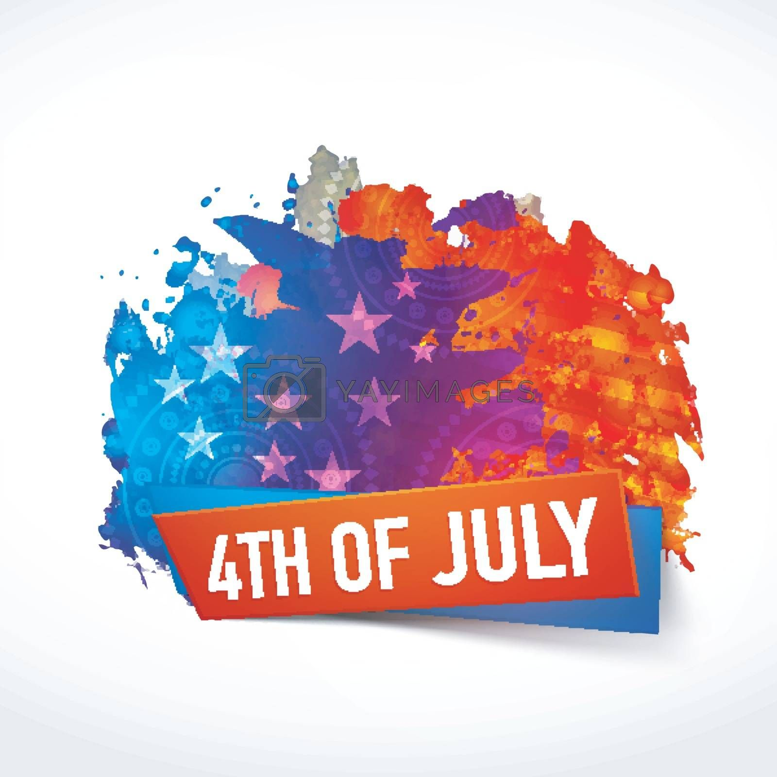 4th of July abstract watercolor splash background in American Flag Colors.