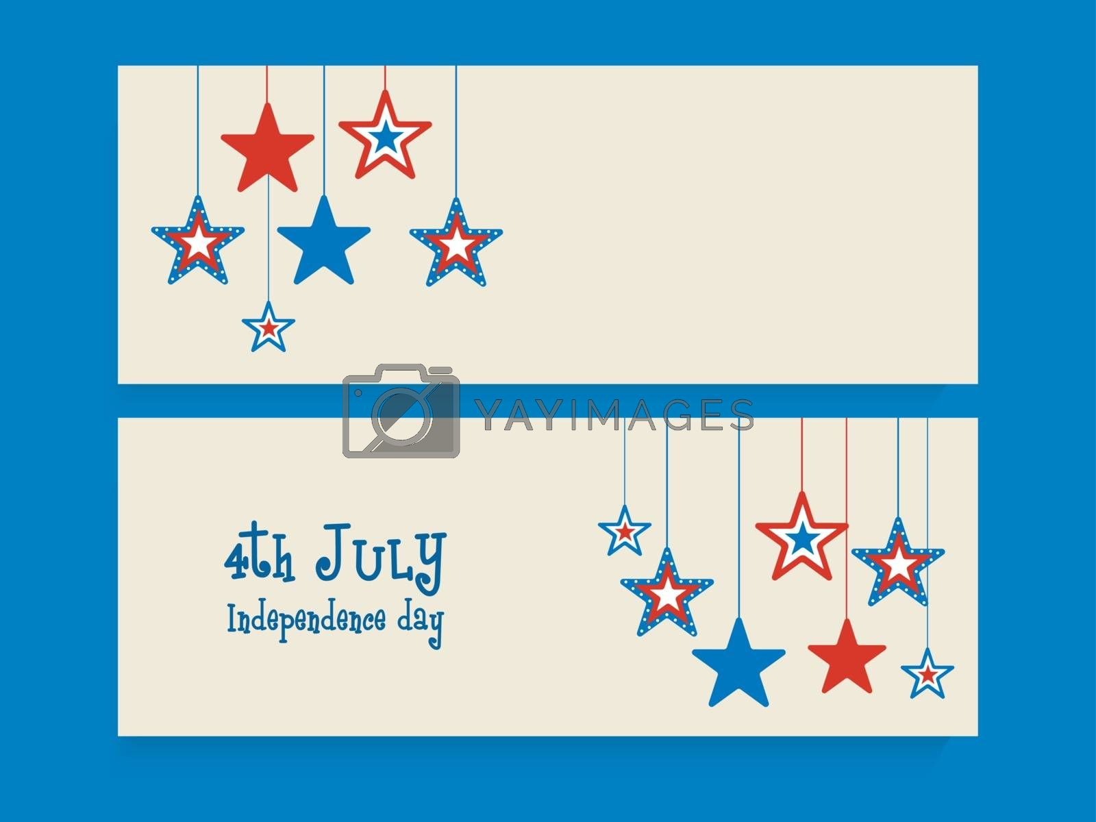 Website header or banner set decorated with American Flag color hanging stars for 4th of July, Independence Day celebration.