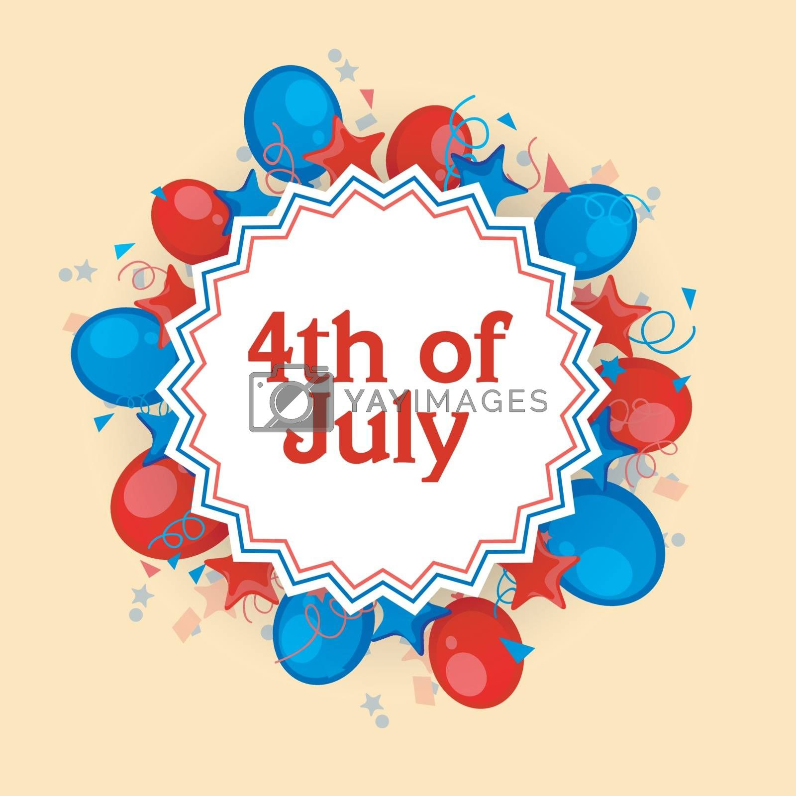 4th of July celebration background decorated with American Flag color balloons, stars and confetti.