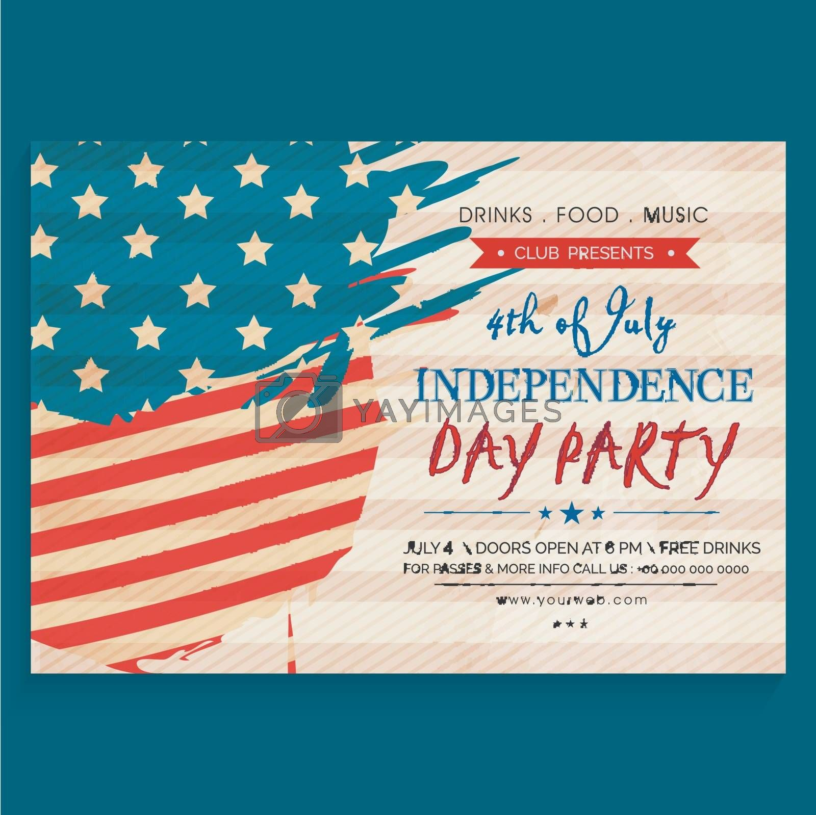 4th of July, American Independence Day Party celebration Invitation Card design in vintage style.