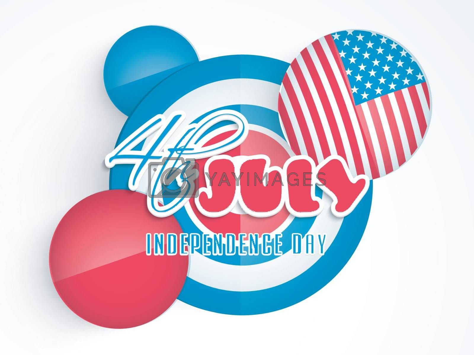 Paper text 4th of July on American Flag colors background for Independence Day celebration.