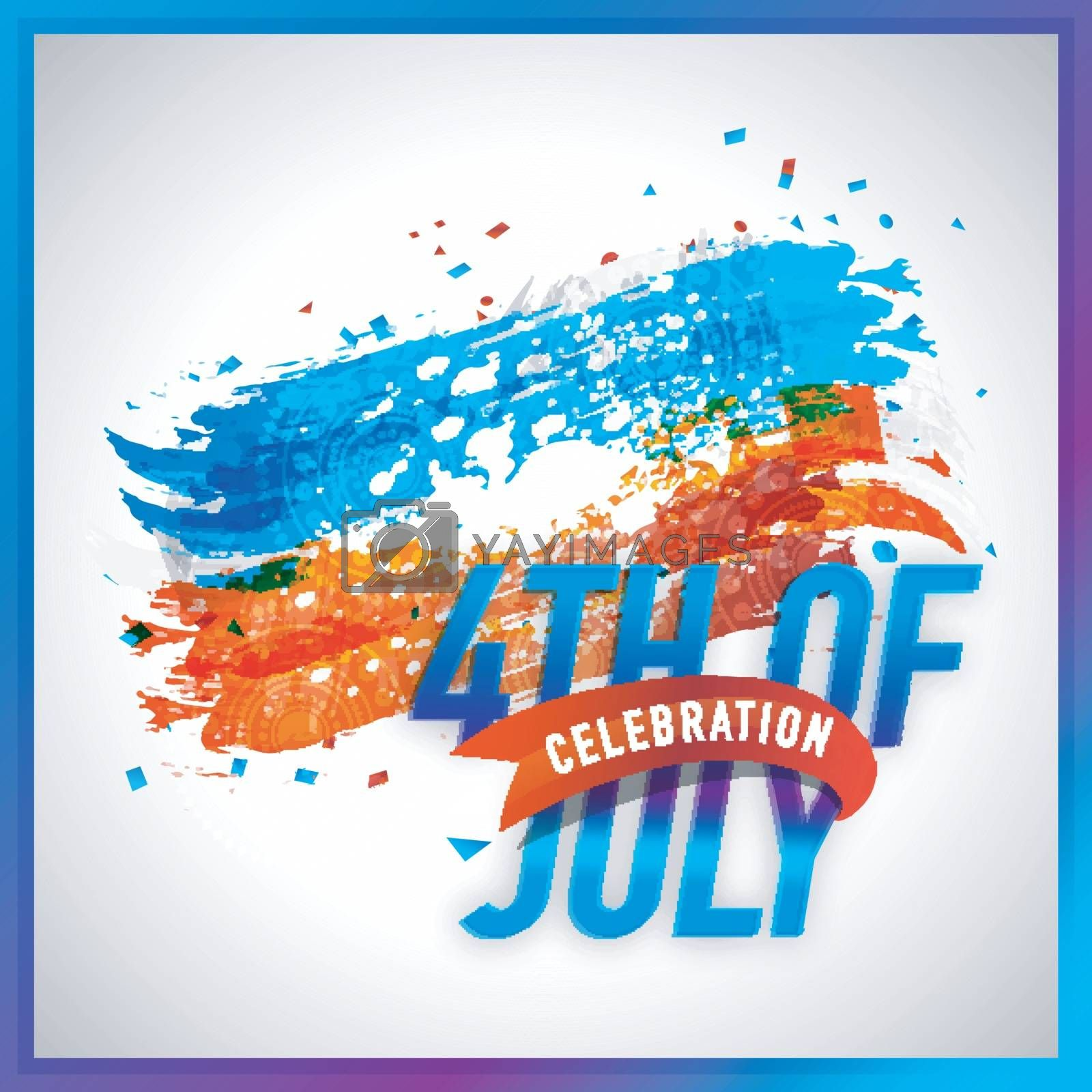 4th of July celebration abstract brush strokes background in American Flag colors. Poster, Banner or Flyer design for Independence Day.