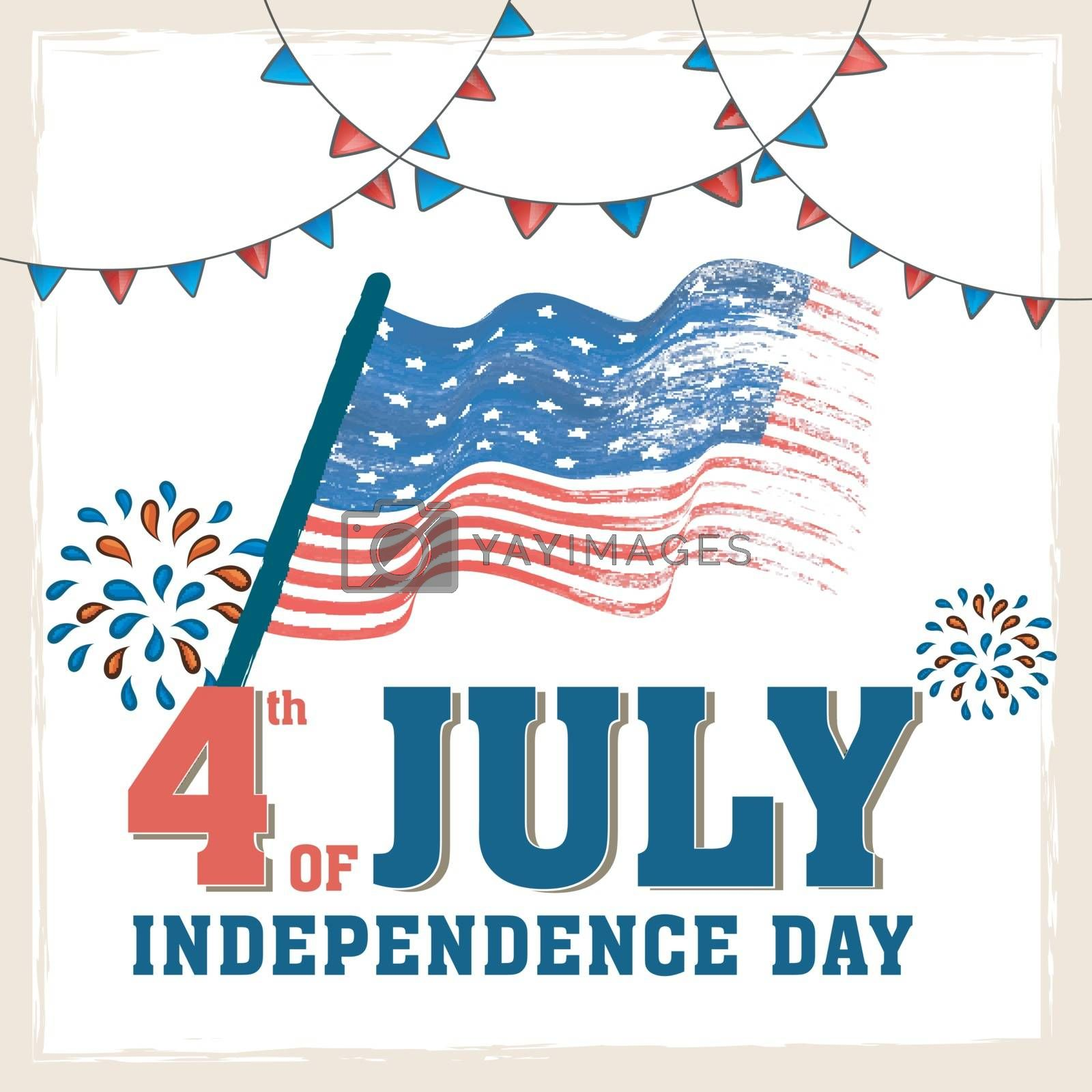 4th of July Poster, Banner with American Flag. by aispl