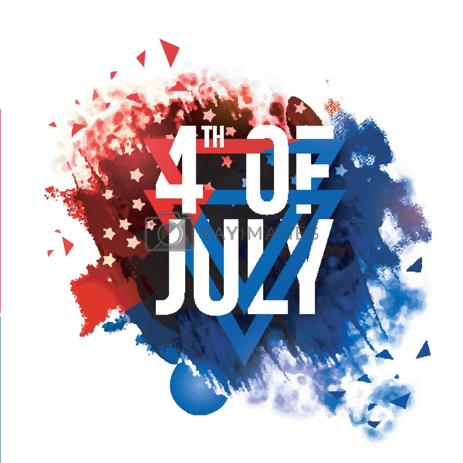 4th of July, Independence Day celebration abstract brush stroke background in American Flag colors.