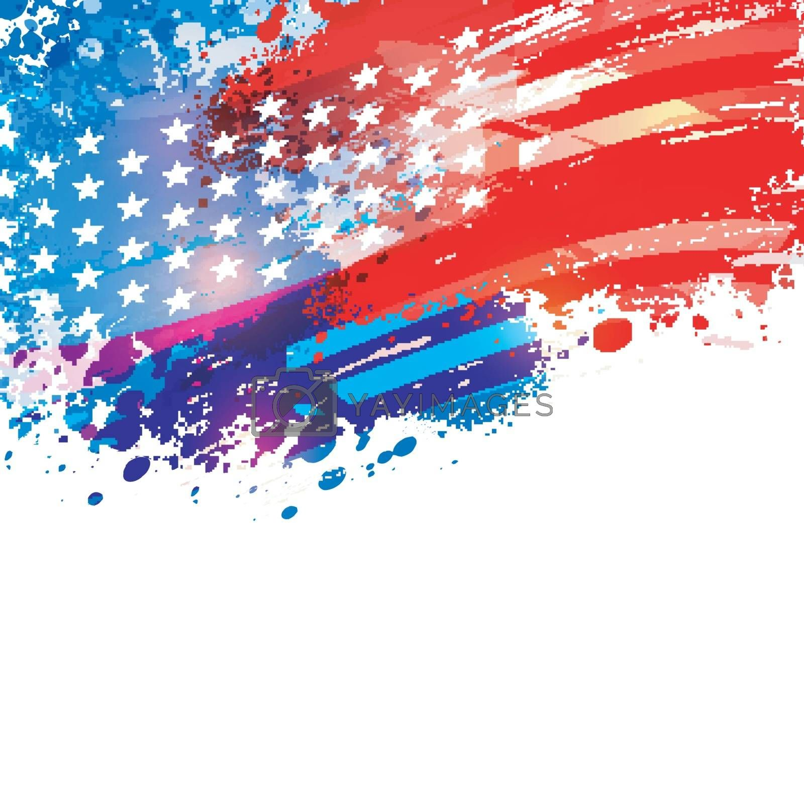 American Flag colors background with abstract brush strokes and splash for 4th of July, Independence Day celebration.