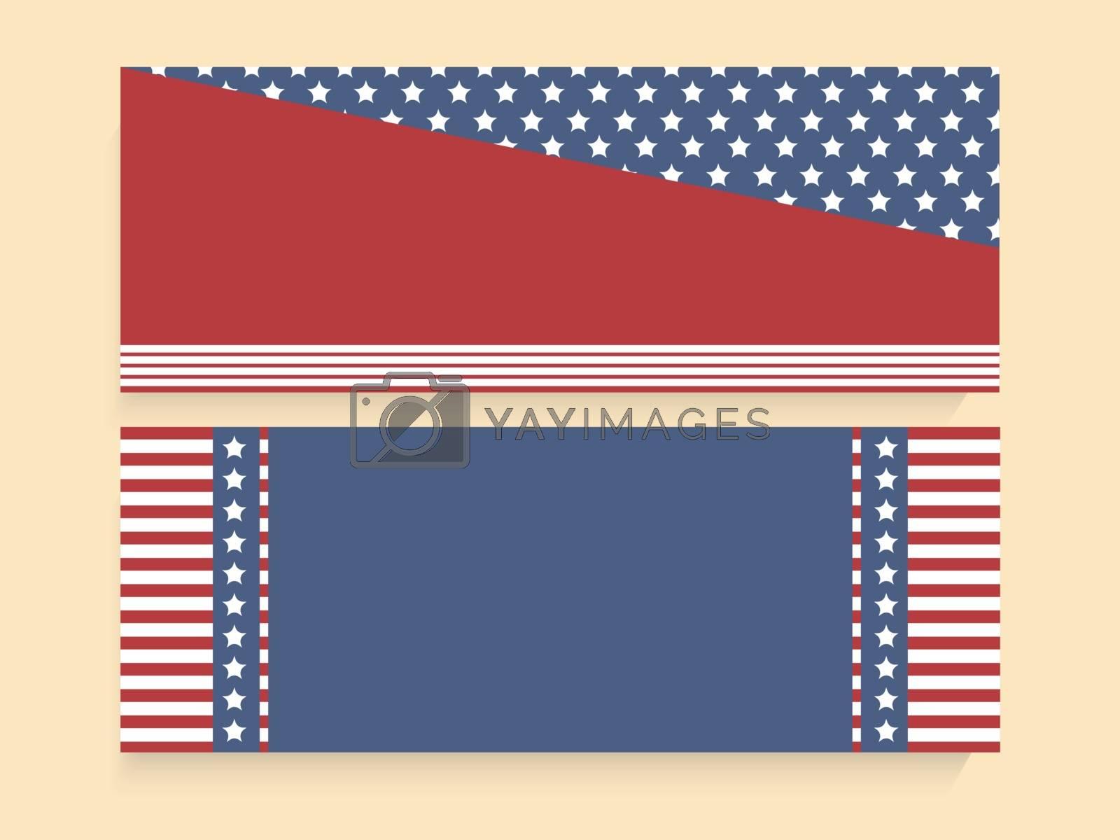 American Flag colors website header or banner set for 4th of July, Independence Day celebration.