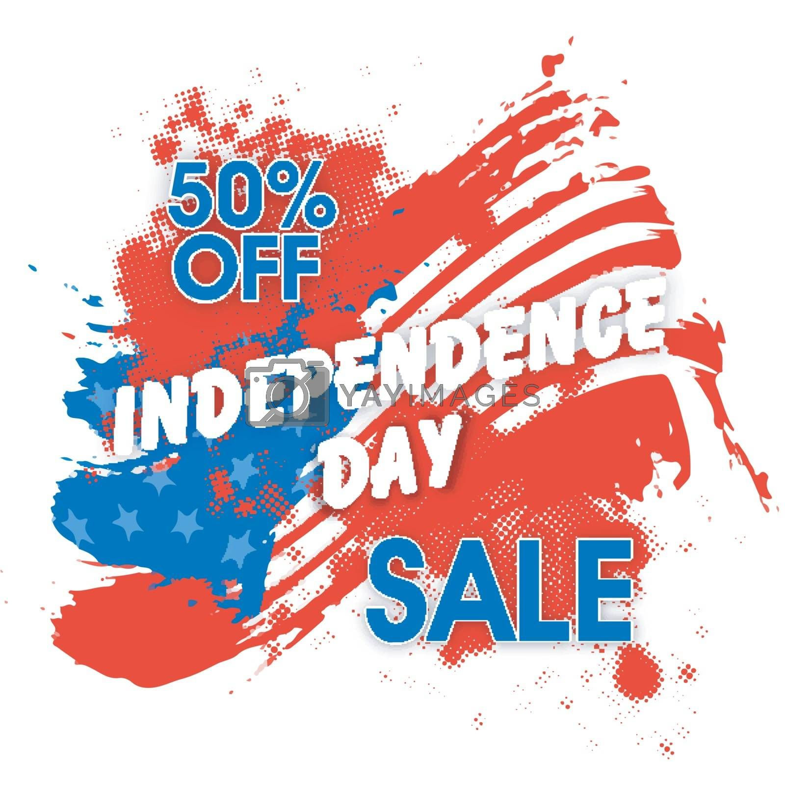 Independence Day Sale background with American Flag design and abstract halftone effect.