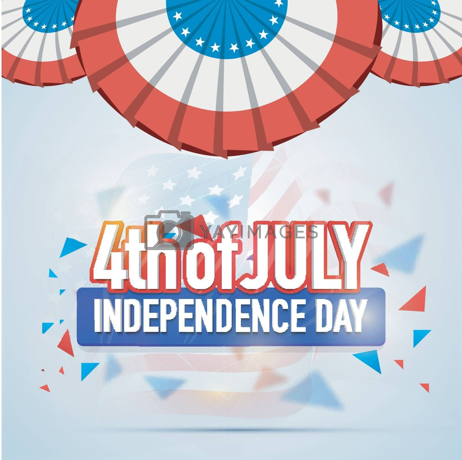 Greeting Card design for 4th of July, American Independence Day celebration.