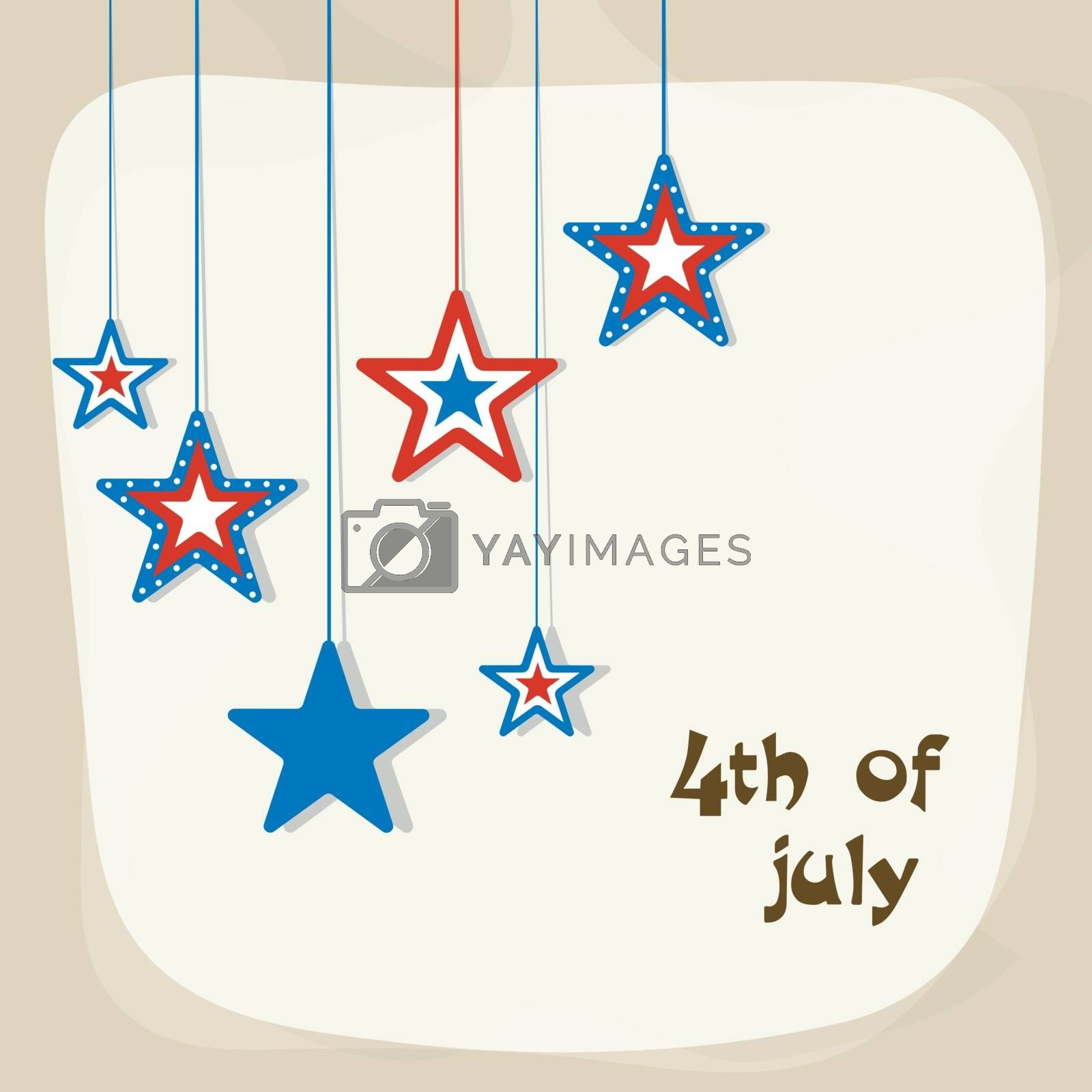 National Flag colors hanging stars for 4th of July, American Independence Day celebration.