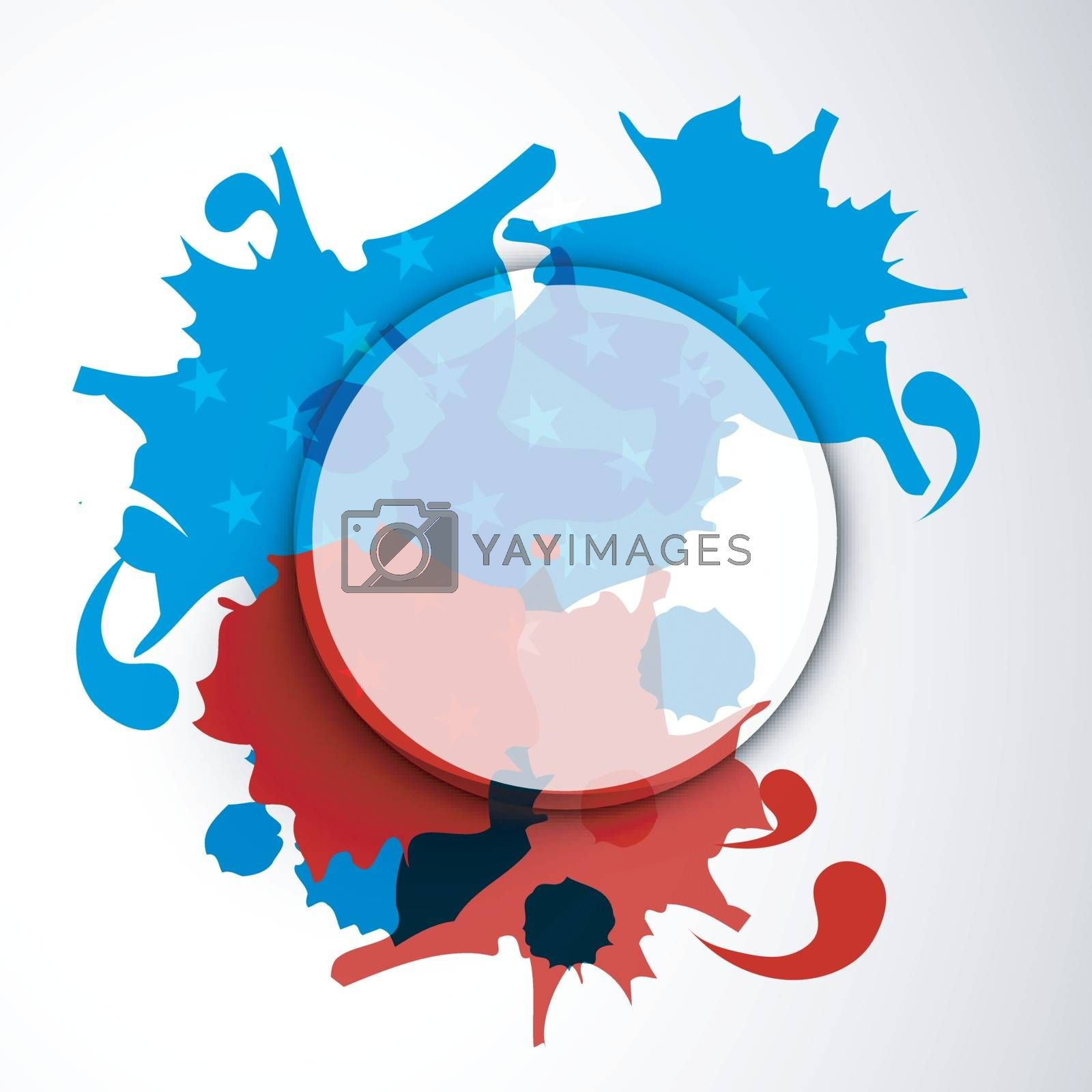 Abstract background with American Flag color splash for 4th of July, Independence Day celebration.