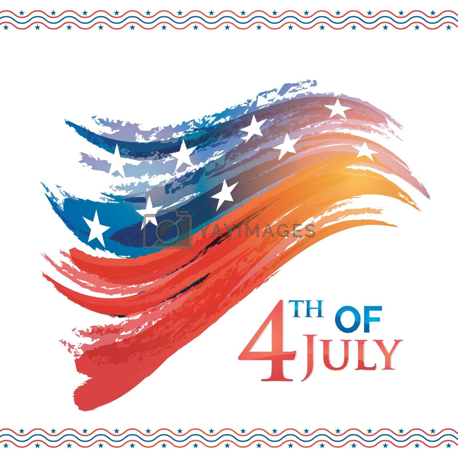 American Flag Color brush strokes background for 4th of July, Independence Day celebration.