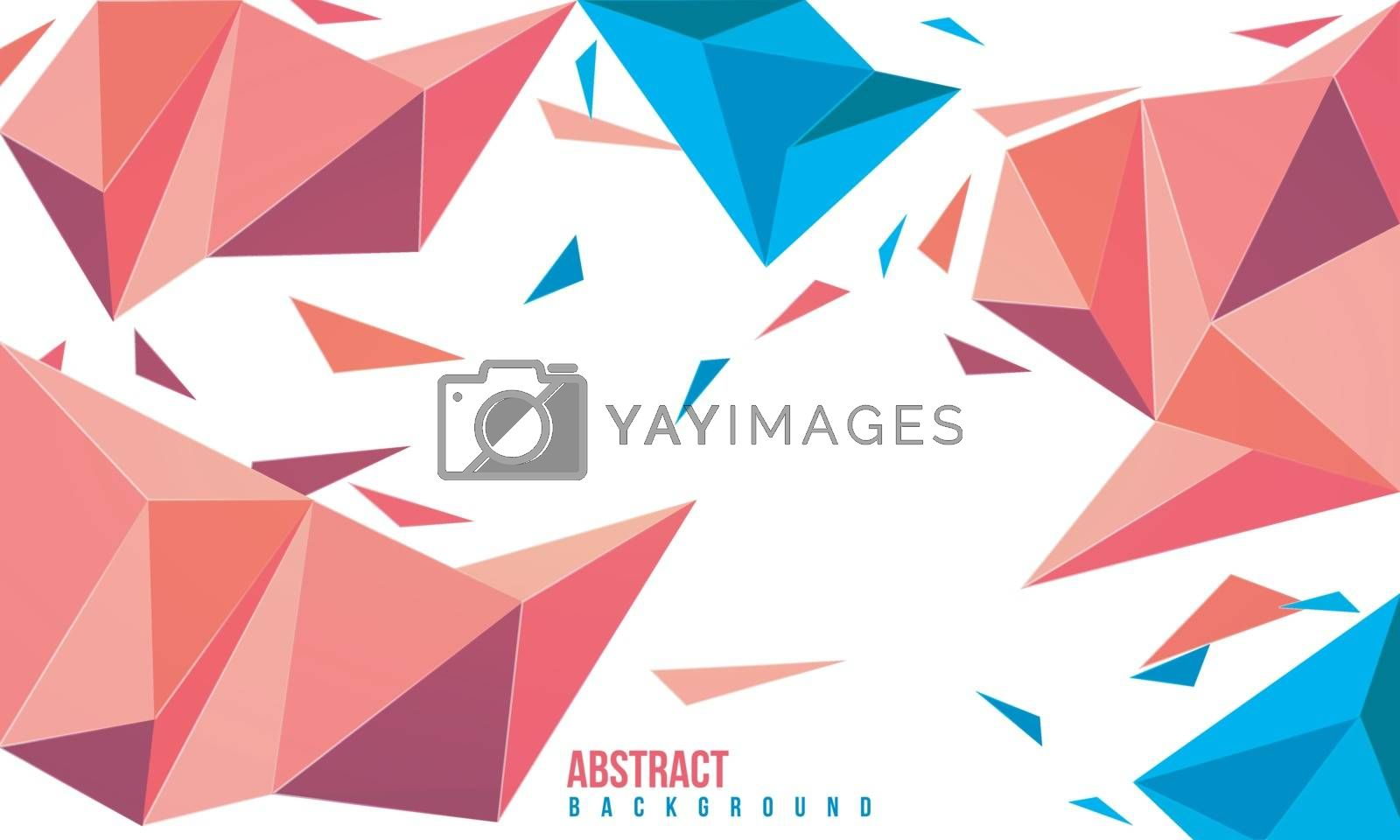 Creative abstract background with low poly geometric elements.
