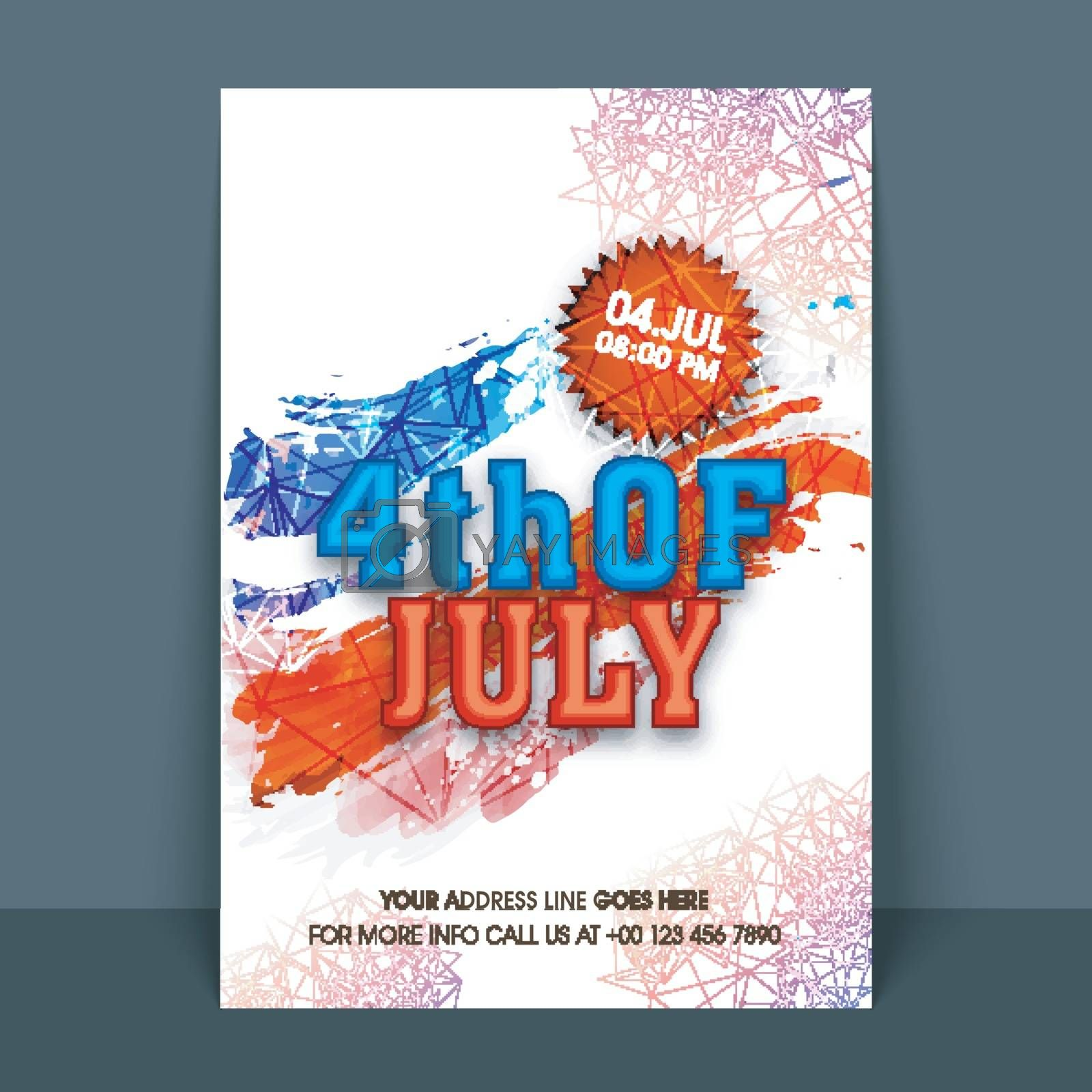 4th of July, American Independence Day celebration template, banner or flyer with abstract design.