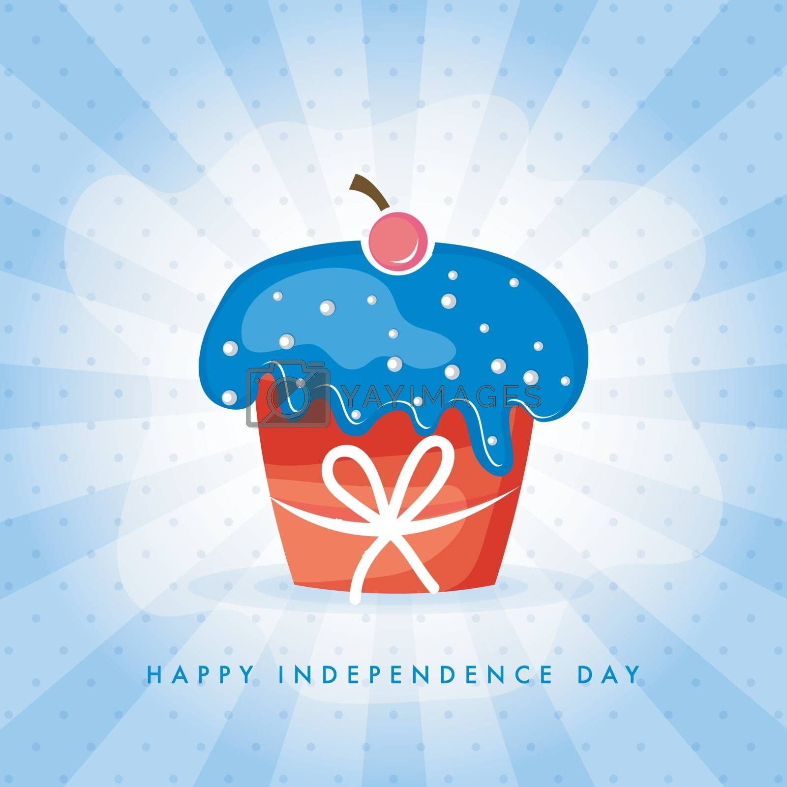 Sweet Cupcake in USA Flag colors on abstract rays background for Happy Independence Day.