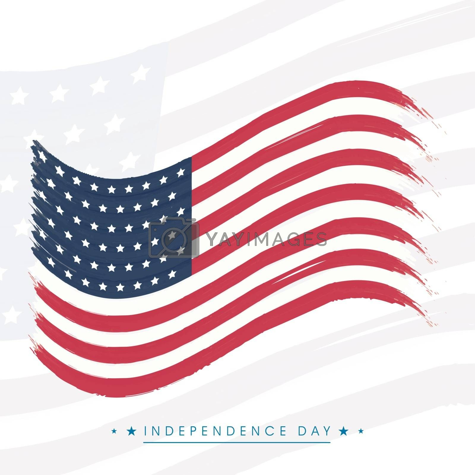 Waving American Flag design for 4th of July, Independence Day celebration.