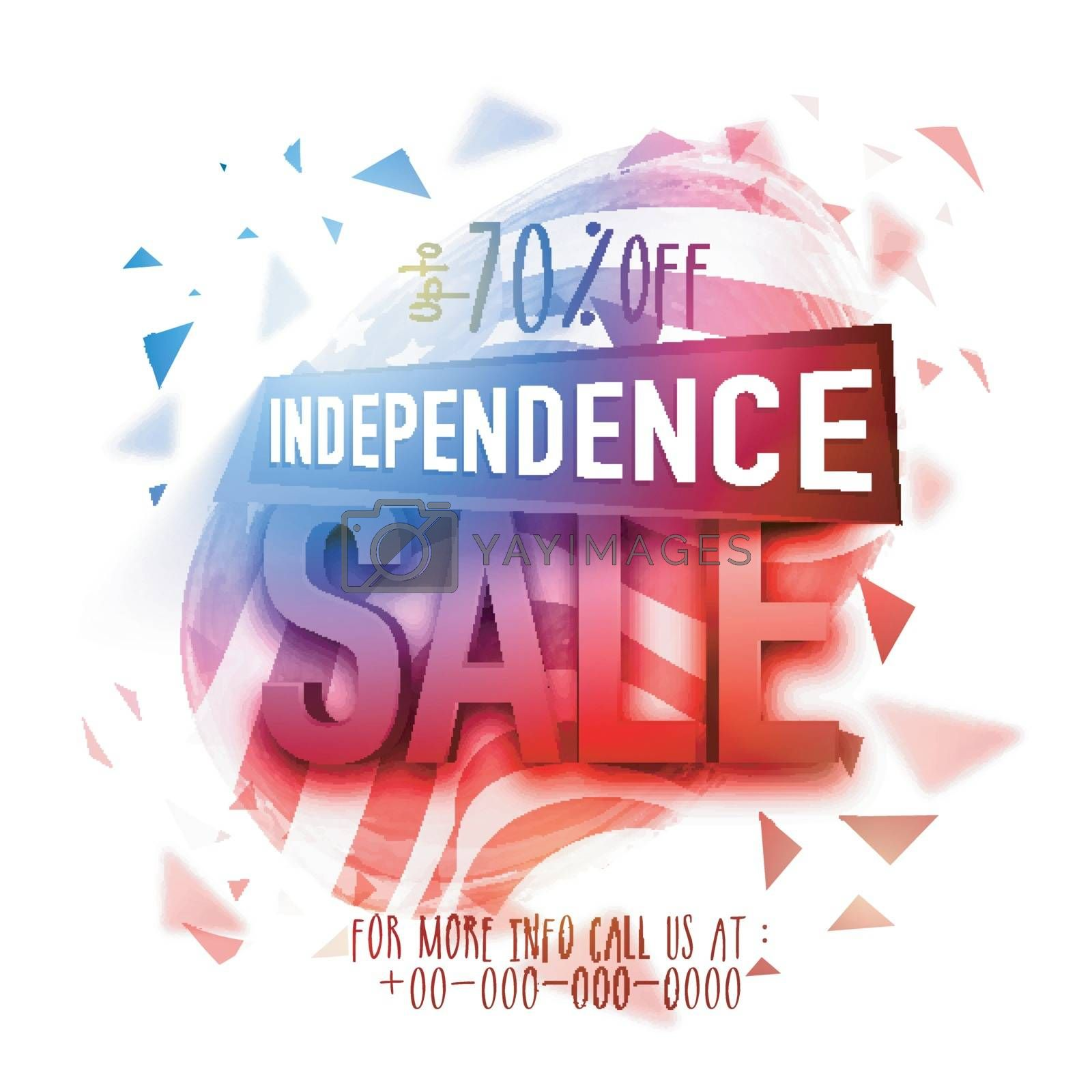 American Independence Day Sale poster, banner or flyer with abstract design.