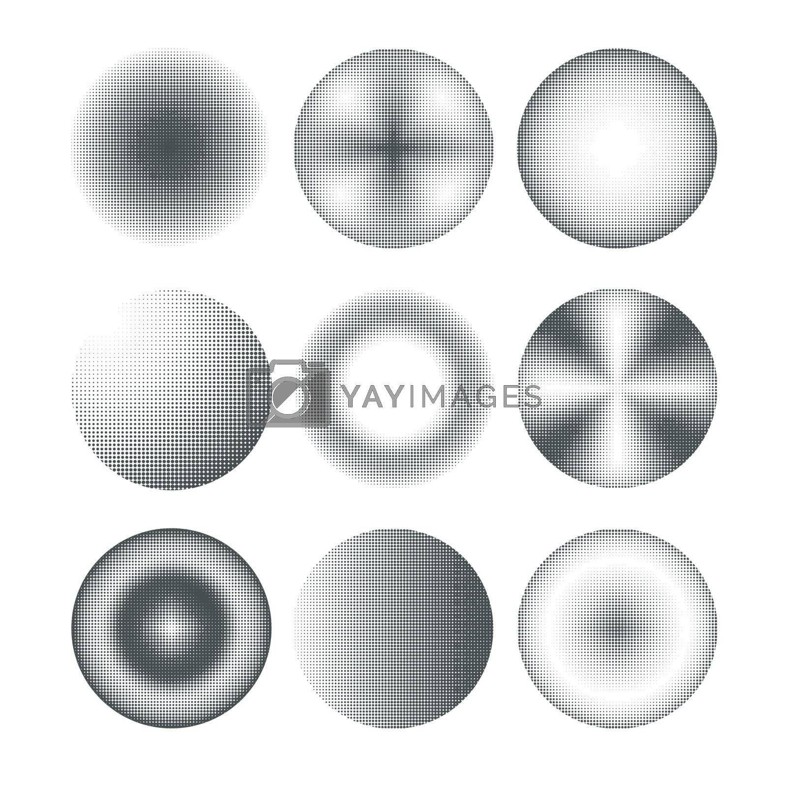 Set of nine different abstract circles design in halftone style.