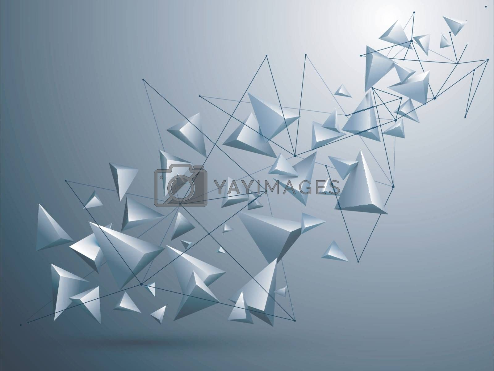 Abstract geometric background with glossy 3D low poly shapes.