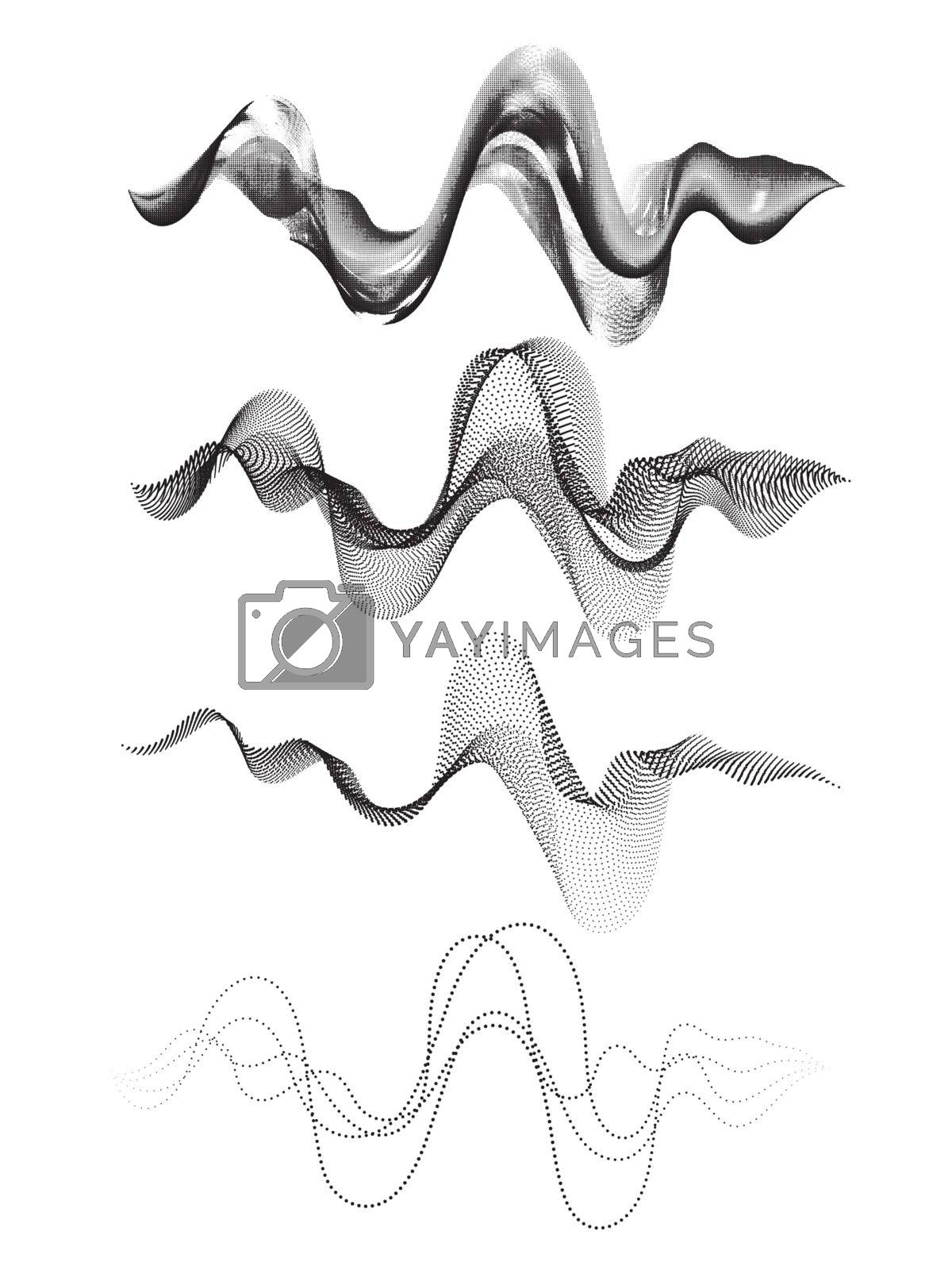 Creative abstract waves set in four different styles.