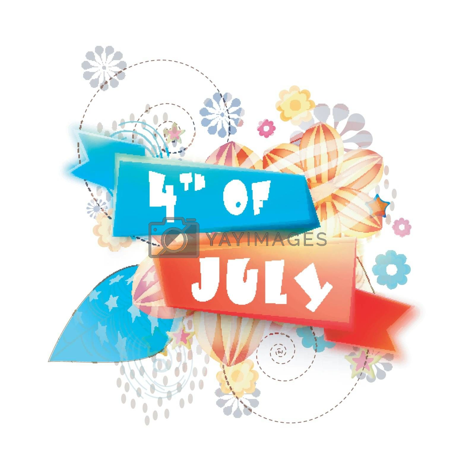 4th of July Ribbon design on abstract floral elements background for American Independence Day celebration.