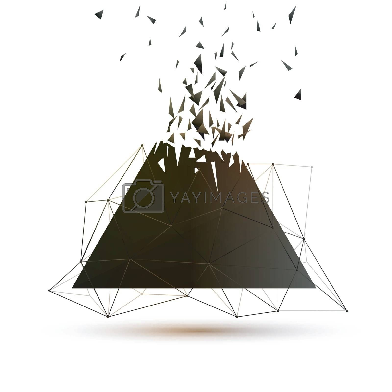 Modern abstract geometric background with triangles explosion effect.