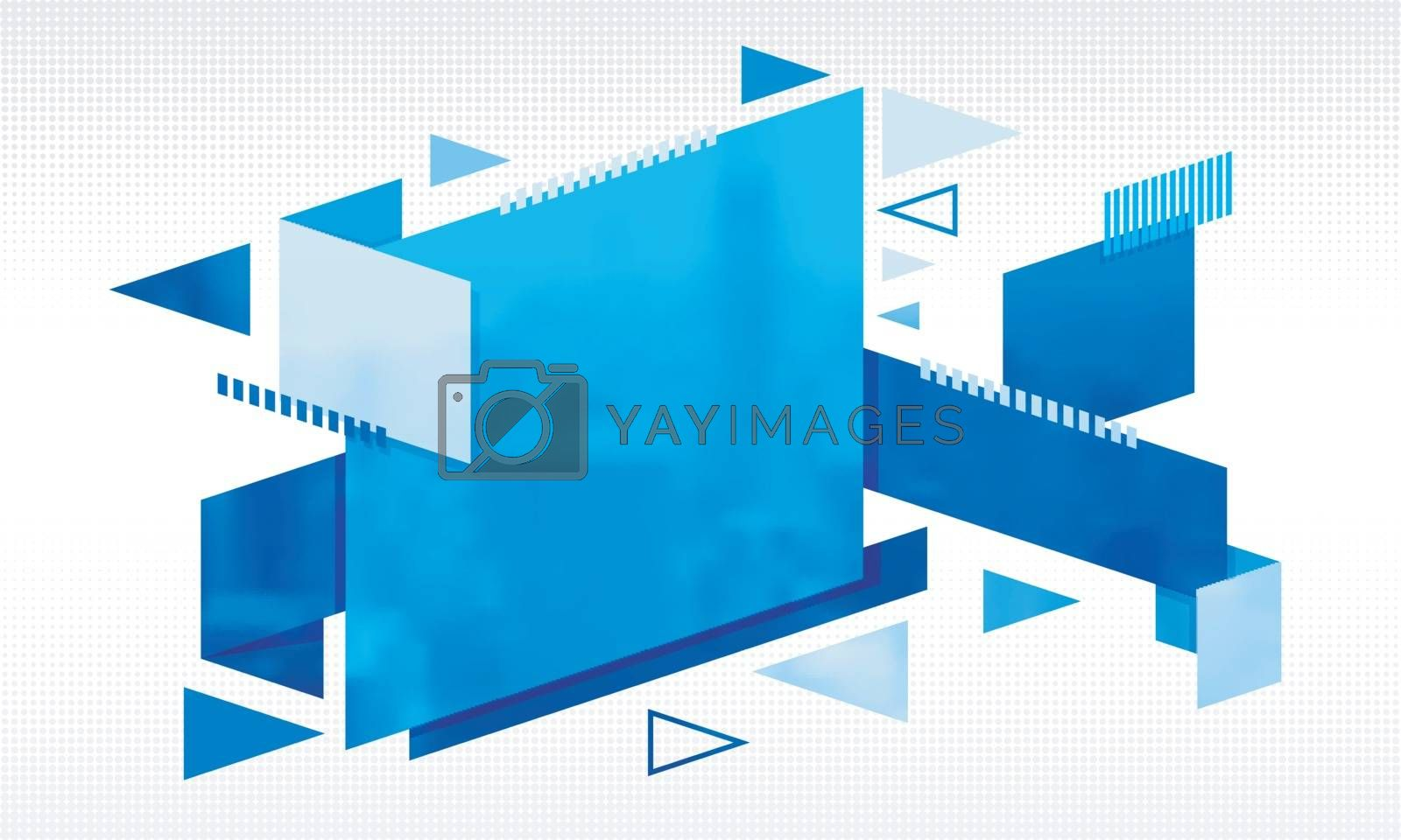 Modern abstract background with blue geometrical elements.
