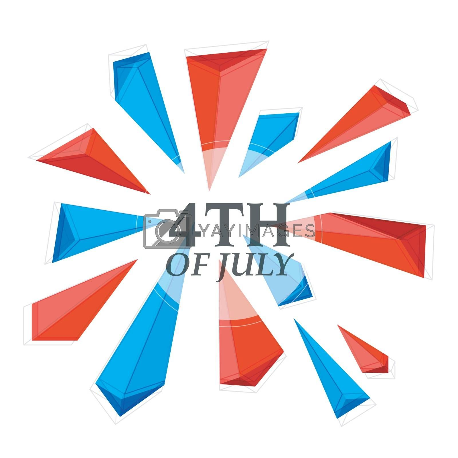 4th of July, Independence Day celebration background with abstract low poly or polygonal shapes in American Flag colors.