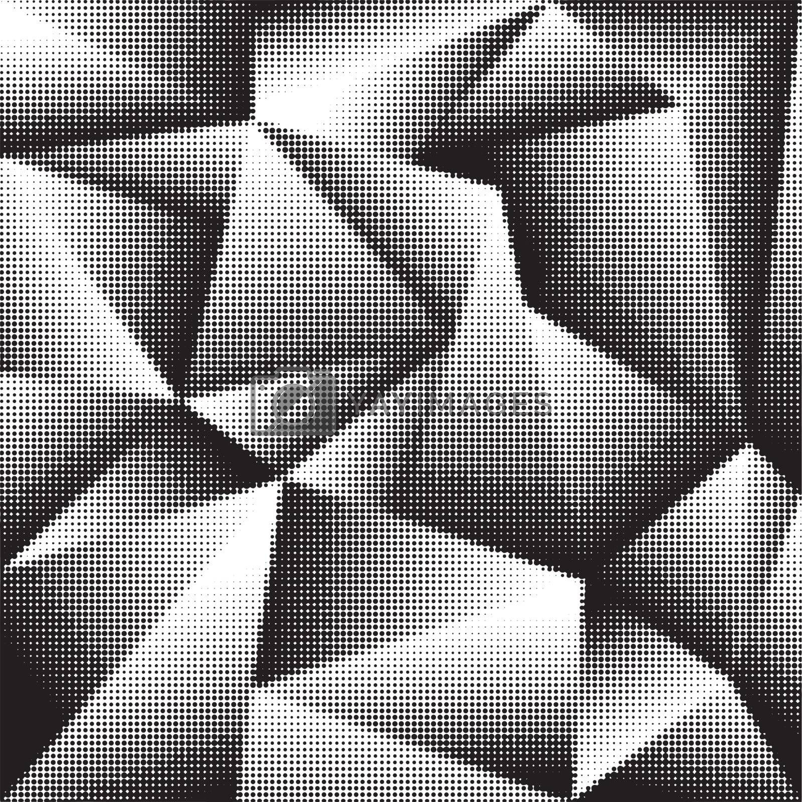 Abstract geometric background in halftone style with triangle shapes.