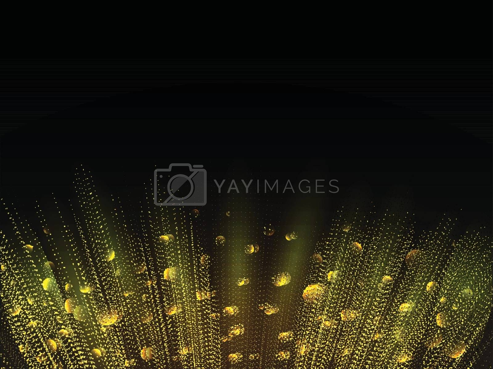 Glowing abstract background with golden particles and rays effect.