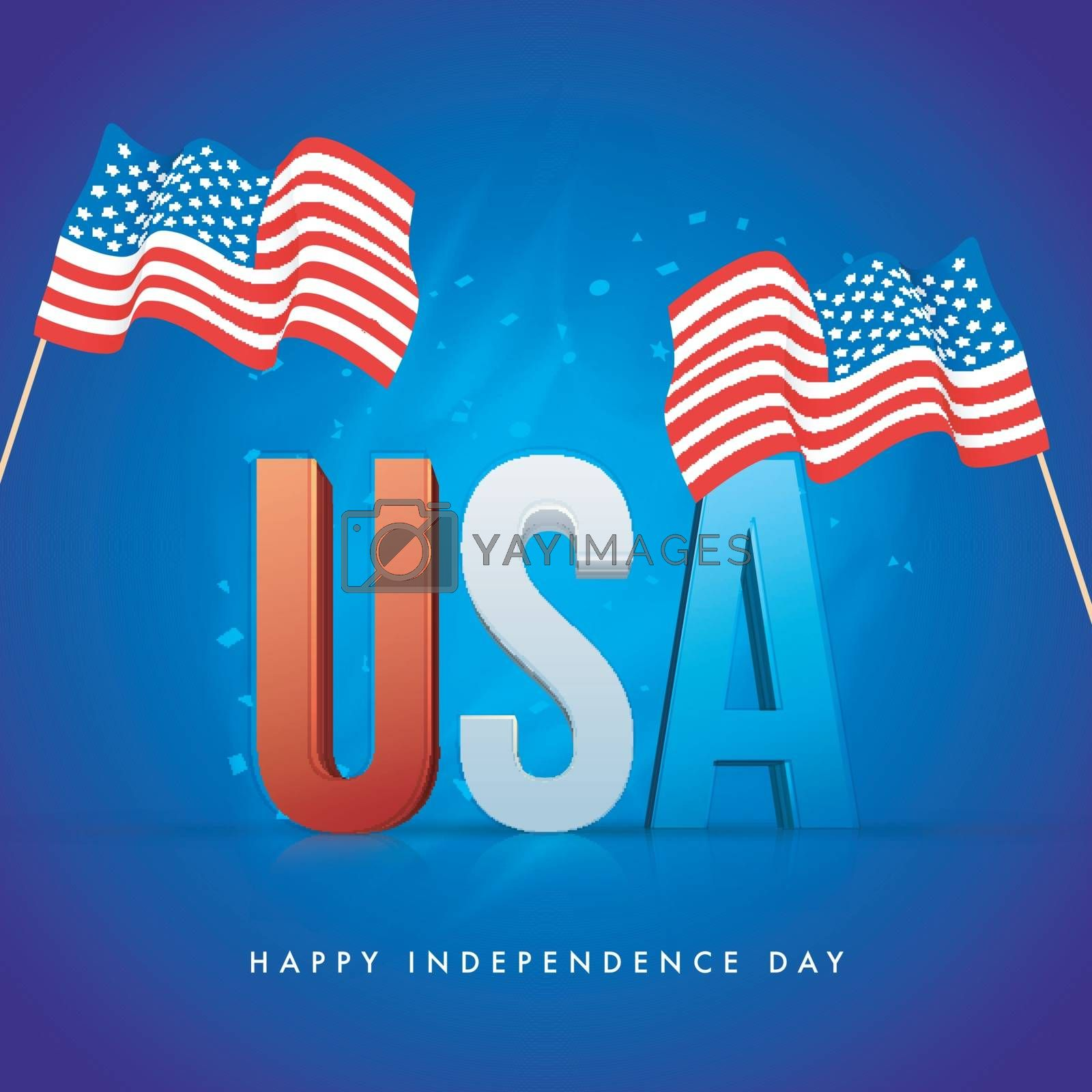 3D Text USA with Waving Flags on shiny blue background for Happy Independence Day celebration.