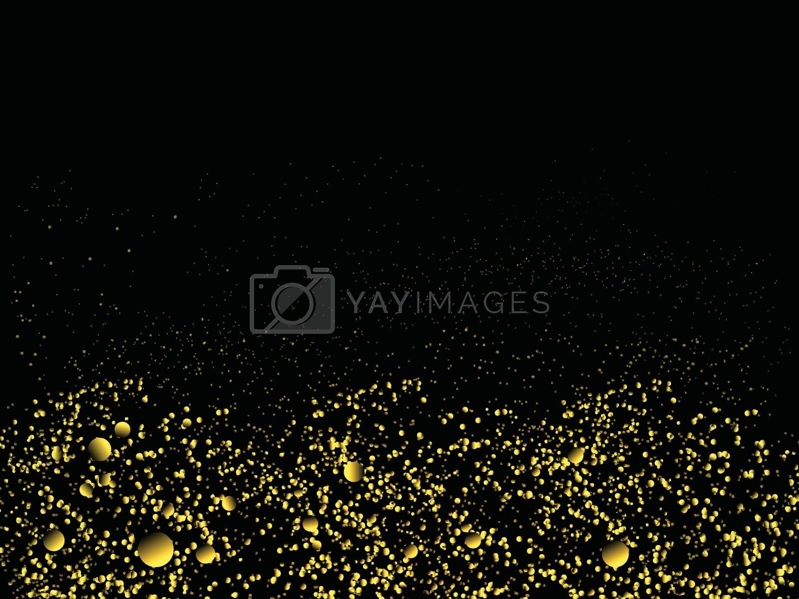 Gold glitter dust scattered background. Elegant sparkling effect or texture.
