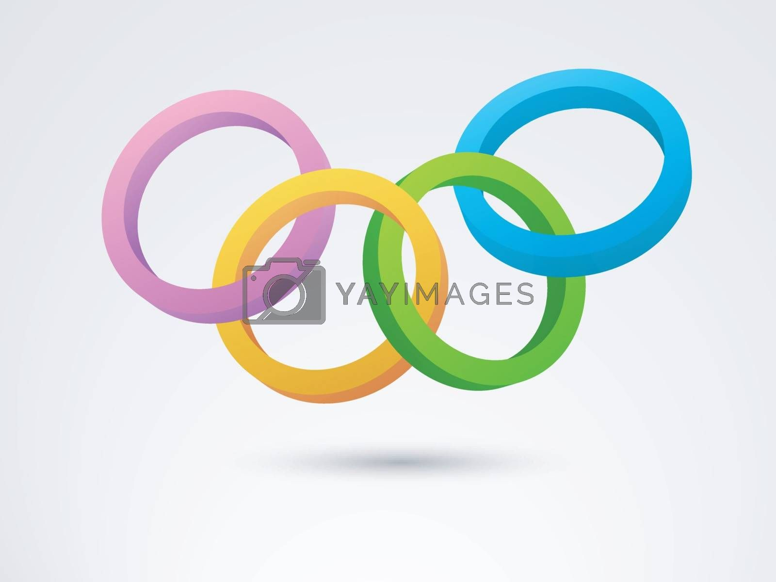 Abstract geometric background with colorful 3D circle and rings.