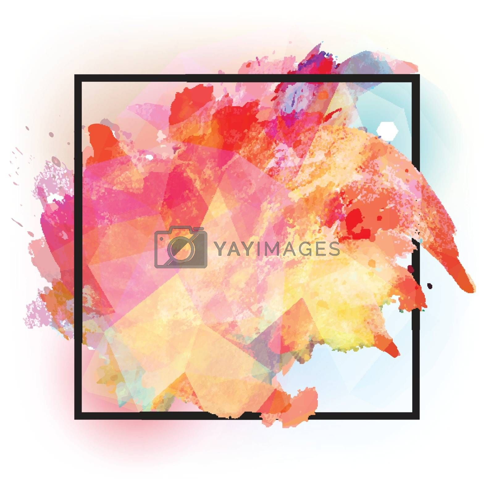 Abstract square frame with colourful splash.