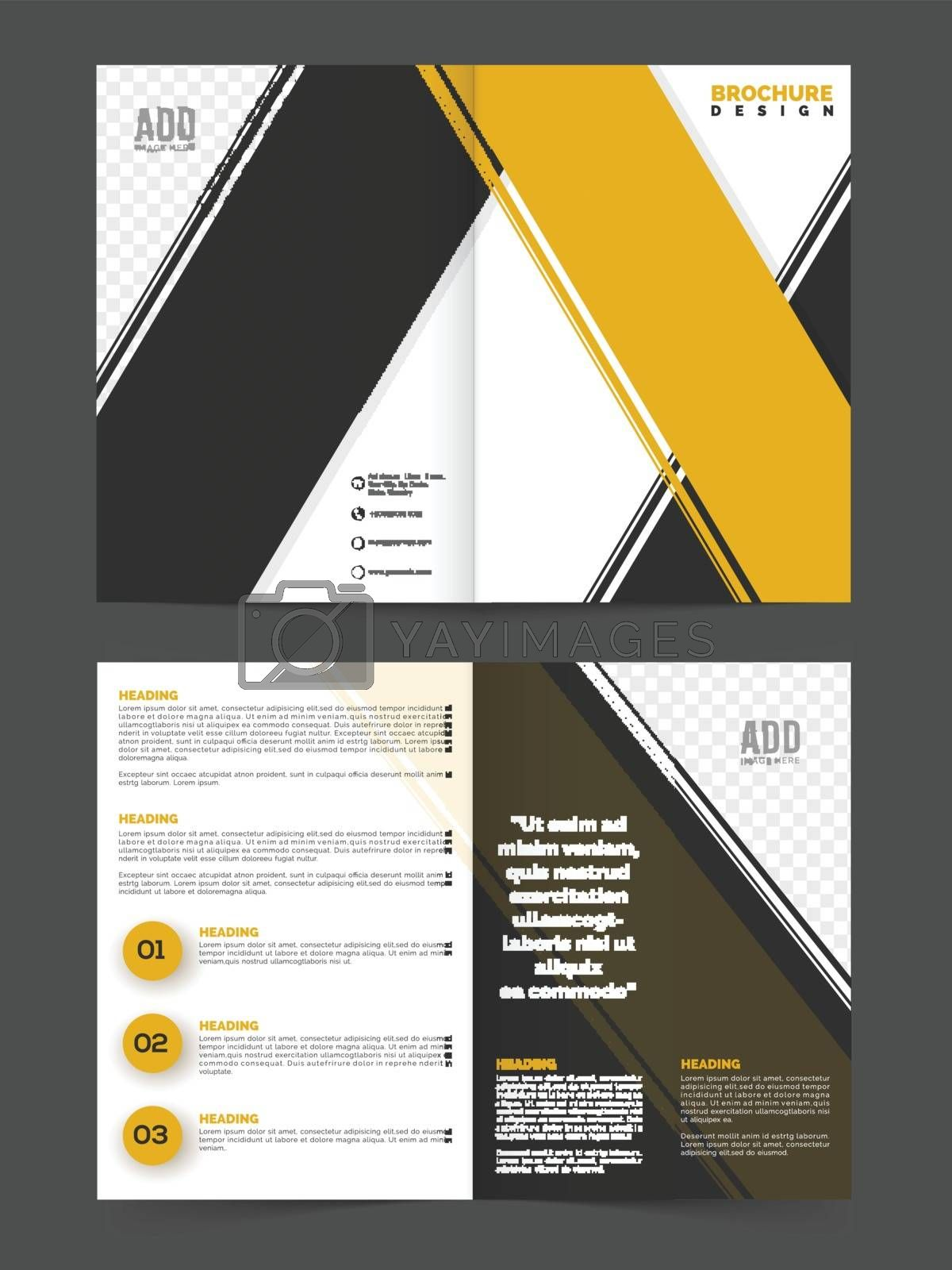 Business Brochure Template with yellow ans grey abstract stripes.