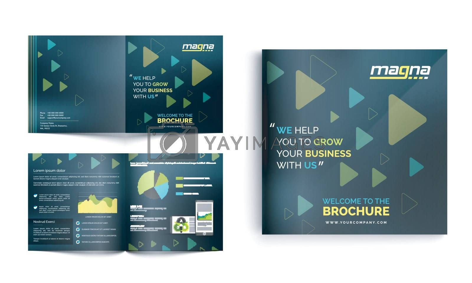 Modern abstract Brochure, Leaflet design with front, back and inner pages presentation for your Business.