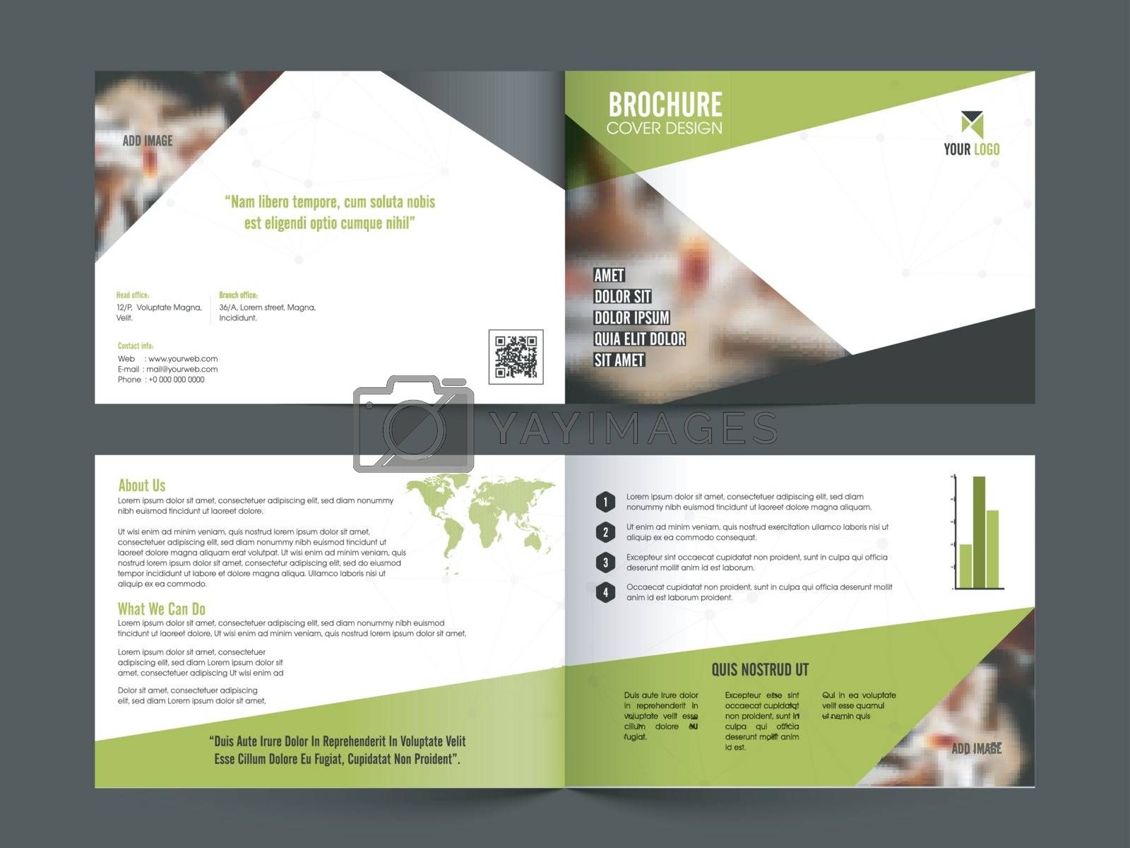 Front, Inner or Back Pages Presentation of Professional Business Brochure with space to add images.