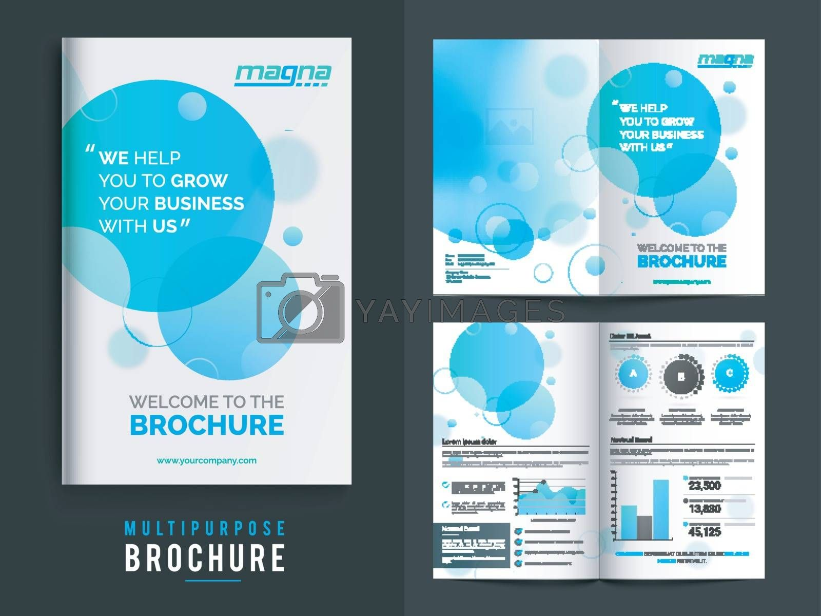 Multi purpose Brochure with statistical infographic elements for Business Reports, Cover Design and Professional Presentation.