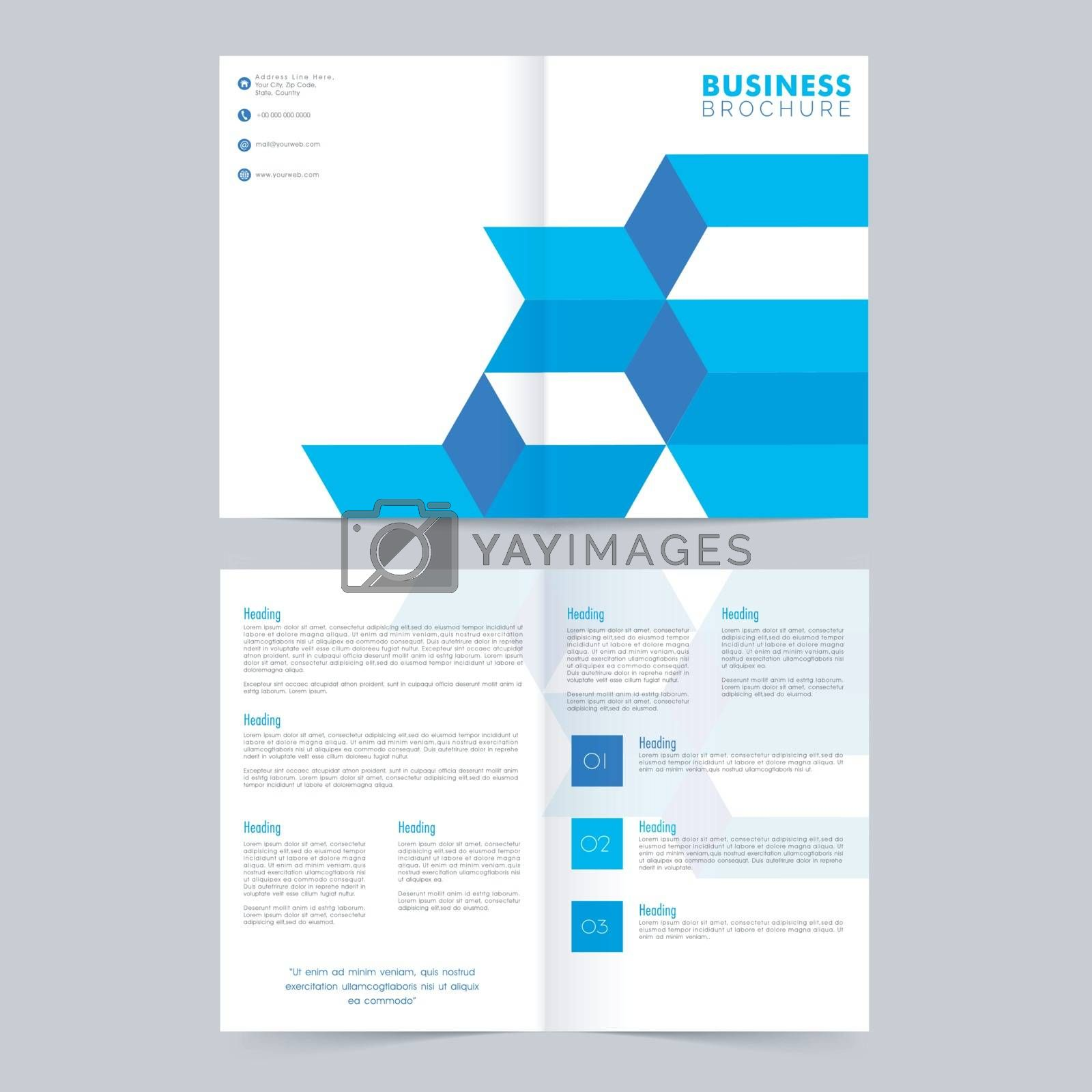 Professional Business Brochure with blue abstract design.
