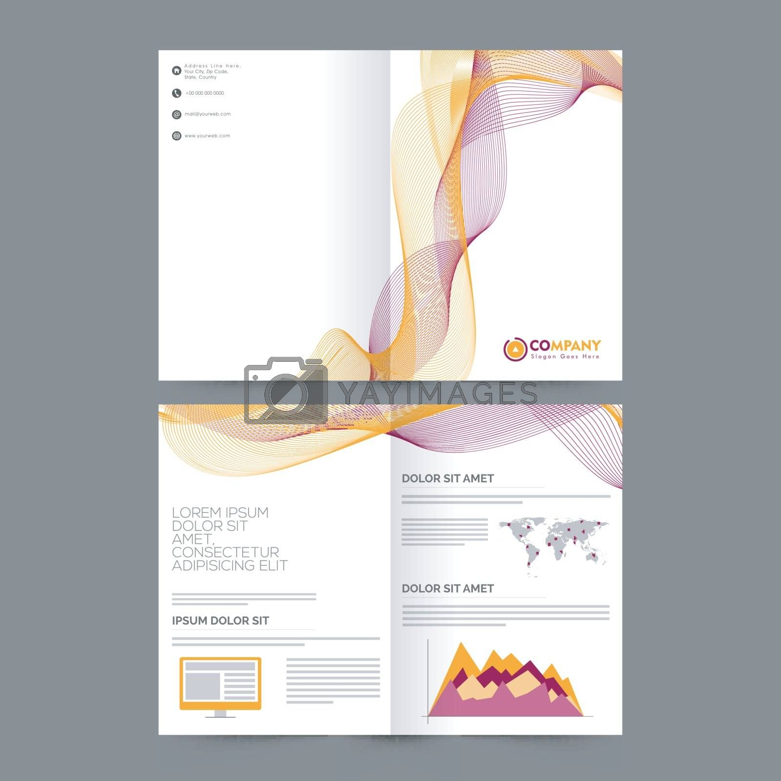 Creative four pages Brochure, Template with abstract waves and statistical graph for Business.