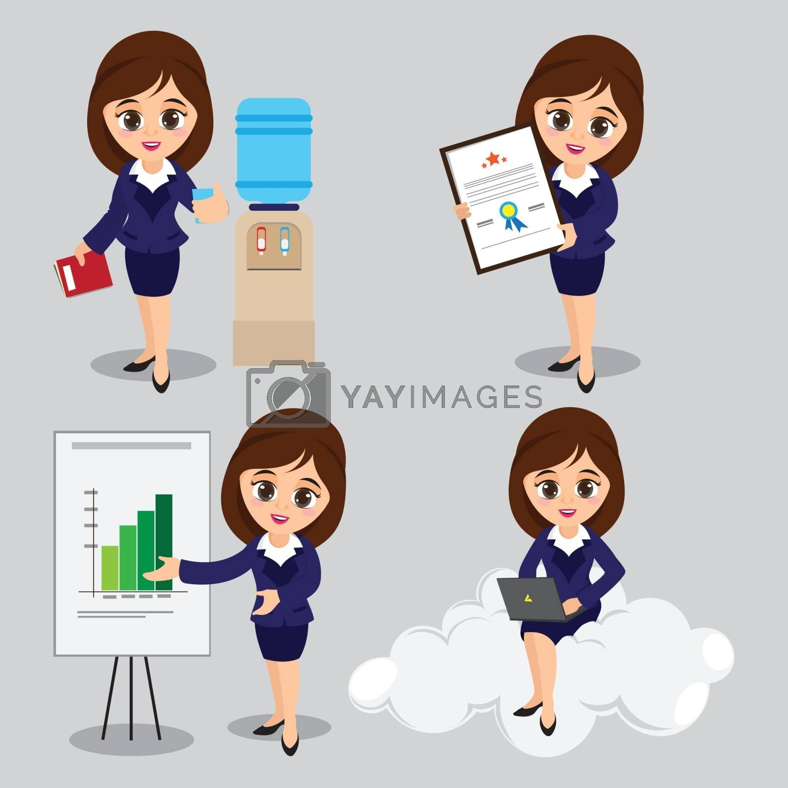 Cartoon illustration of Young Business Women characters in four different poses.
