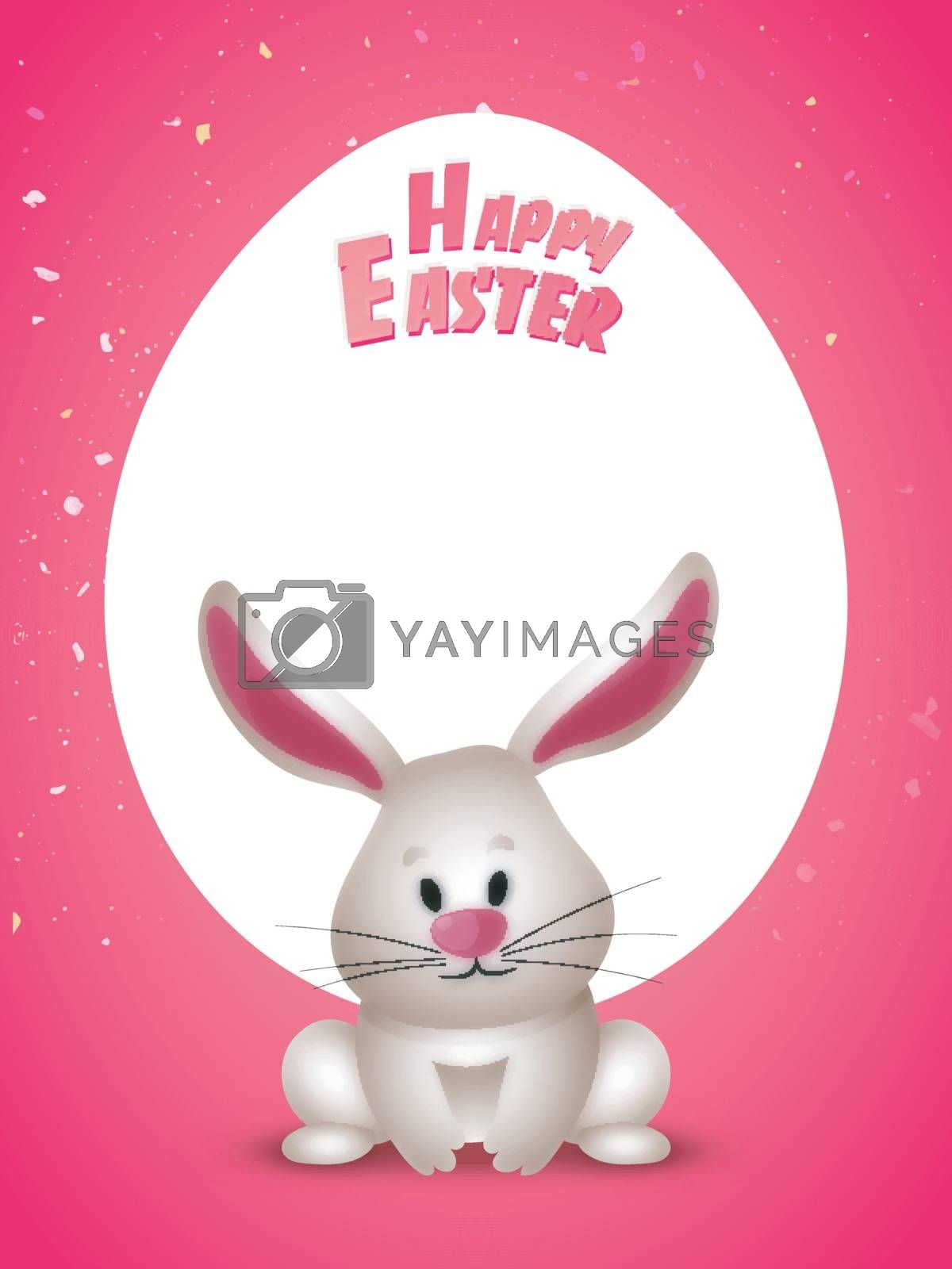 Happy Easter poster design with cute bunny.