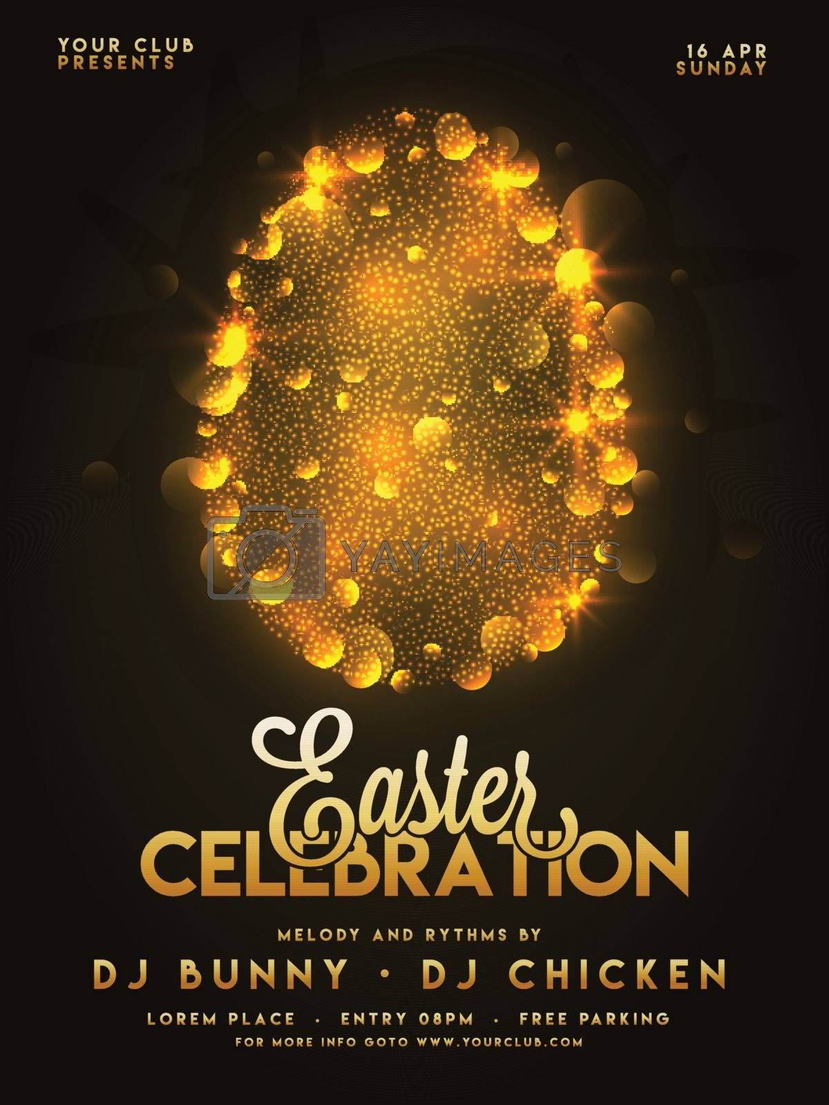 Party poster desing for Easter Celebrations with golden egg.