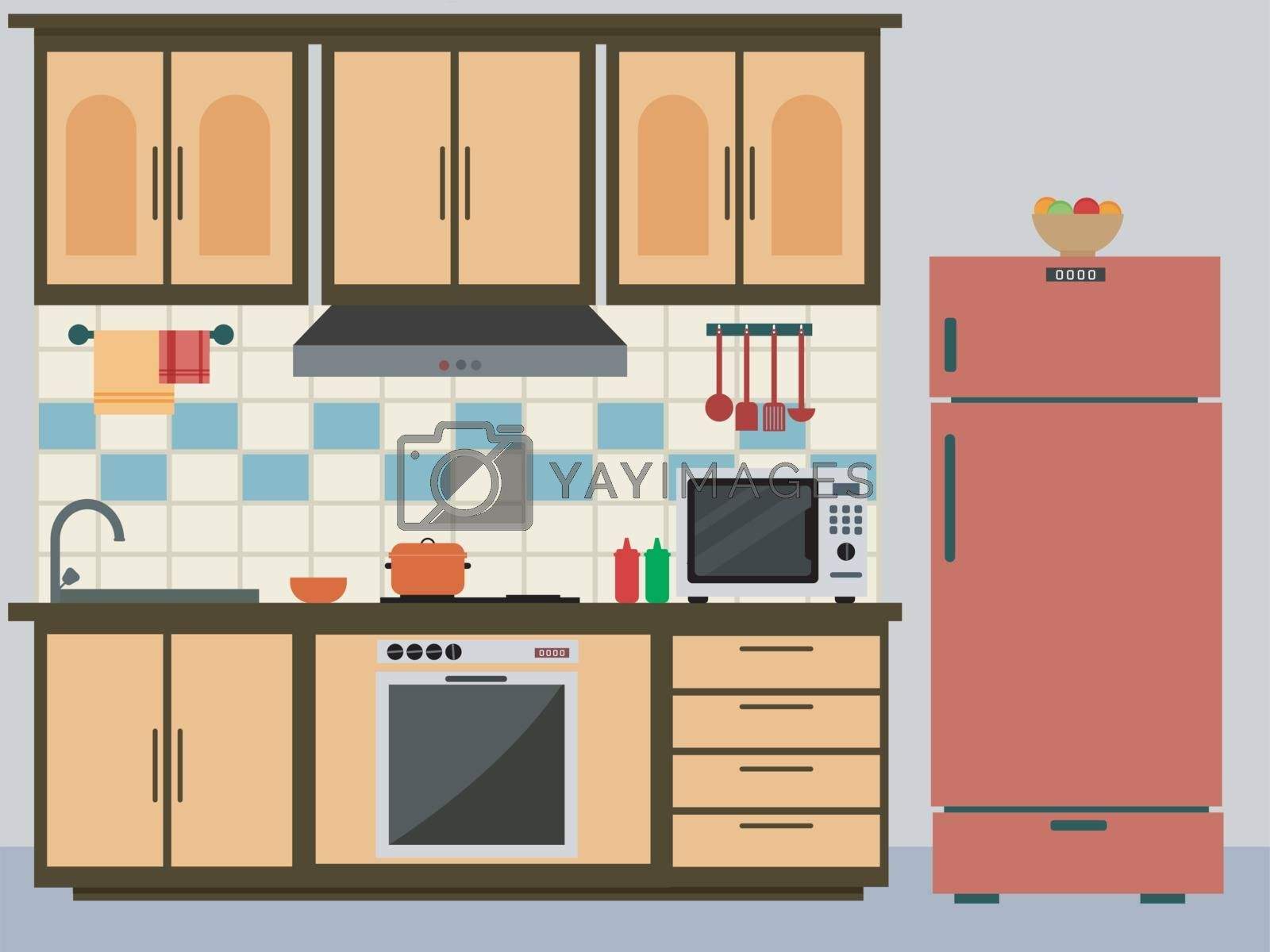 Flat Design Style Interior of a Kitchen. by aispl