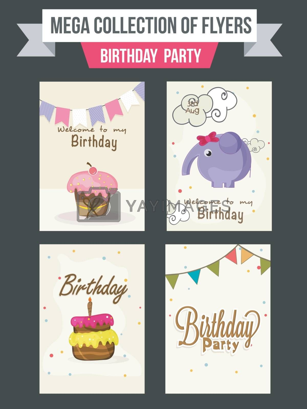 Collection of Birthday Party flyers with illustration of sweet cupcakes and cute elephant.
