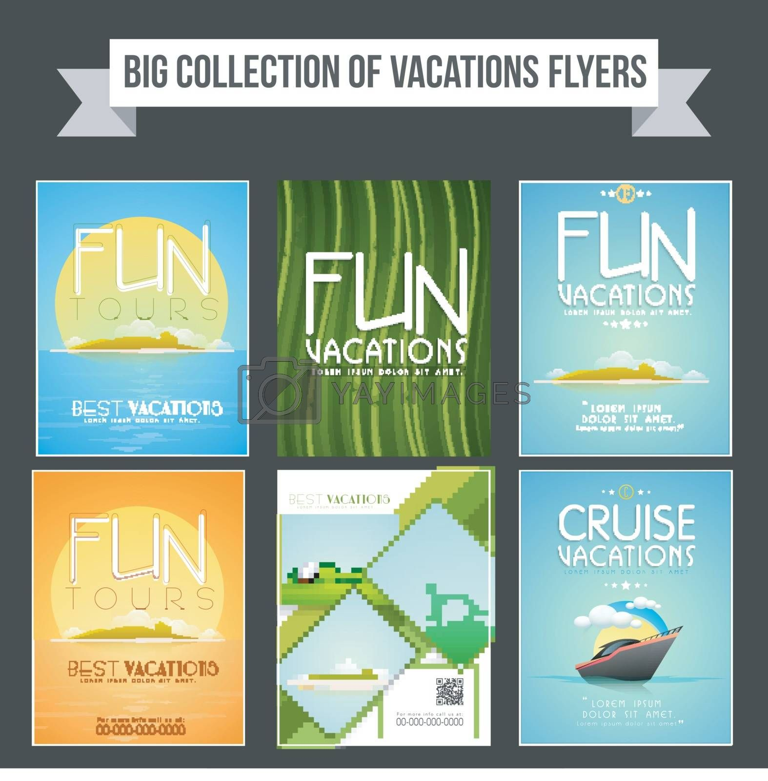 Big collection of Vacation flyers, templates or banners design for Tour and Travel concept.
